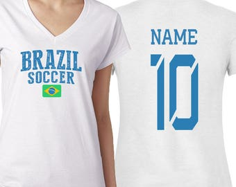 3839dfa961 Brazil T shirts Brasil Women s V neck 100% cotton tee Any Sports Customized  Name and Number National Team