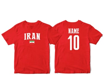 0b04f5d1496 Iran Sports T-shirt Fan tee Country Pride Men's and Kids Youth Customized  Name and Number Made print in USA