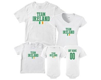 Team Ireland T shirt matching t-shirt set Soccer football Futbol national  Team Men Woman Kids Family Infant Pride Flag e9a8b215d