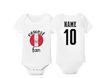 dd2e609be2d Peru Bodysuit Peruvian Add your Name and Number Infant Clothing Newest Fan Soccer  Baby Outfit Girls Boys T shirt -Tee National Team