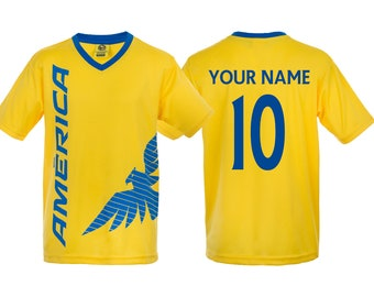 90beccf7097 Youth Club America Jersey Soccer official licensed T-Shirt all sizes Kids  Personalized Your Name and Number Aguilas del America Mexico