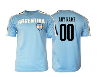 fd267fe12 Argentina Soccer Football Tee T-Shirt all sizes Adults and Kids Sizes Flag  Jersey Pride Personalized Your Name