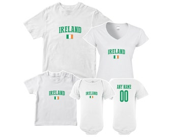 6733d2f197b Ireland T shirt matching t-shirt set Soccer football Futbol national Team  Men Woman Kids Family Infant Pride Flag