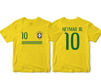 e0464be1f Brazil 10 Brasil Soccer Football Tee T-Shirt Yellow all sizes Adults and  Kids Sizes