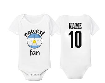 5bece4a77 Argentina Bodysuit Add your Name and Number Infant Clothing Newest Fan  Bodysuit Soccer Baby Outfit Mameluco Infant Girls Boys T shirt - Tee