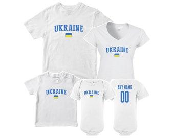 Ukraine T shirt matching t-shirt set Soccer football Futbol national Team  Men Woman Kids Family Infant Pride Flag ab48b0700