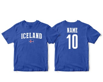 980964345f6 Iceland Sports T-shirt Fan tee Country Pride Men s and Kids Youth  Customized Name and Number