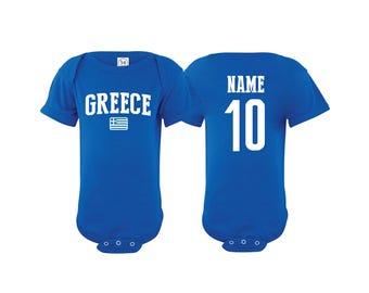340161b42 Greece Bodysuit Grecia Add your Name and Number Infant Clothing Newest Fan  Bodysuit Soccer Baby Outfit Infant Girls Boys T shirt - Tee