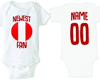 a36afcc11 Peru Bodysuit Peruvian Add your Name and Number Infant Clothing Newest Fan  Soccer Baby Outfit Girls Boys T shirt -Tee National Team