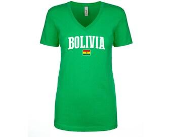 d756fc1b1 Bolivia V Neck T shirts Women Lady 100% cotton tee Any Sports National Team  Soccer Bolivian tee tshirt