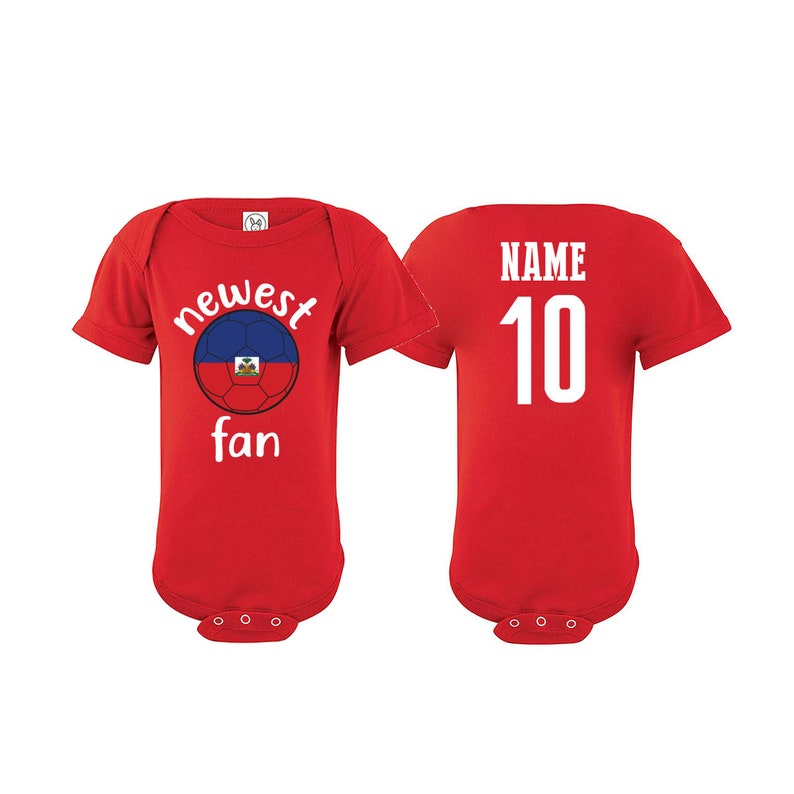 Tee National Team Haiti Bodysuit Add your Name and Number Infant Clothing  Newest Fan Bodysuit Soccer Baby Outfit  Girls Boys T shirt