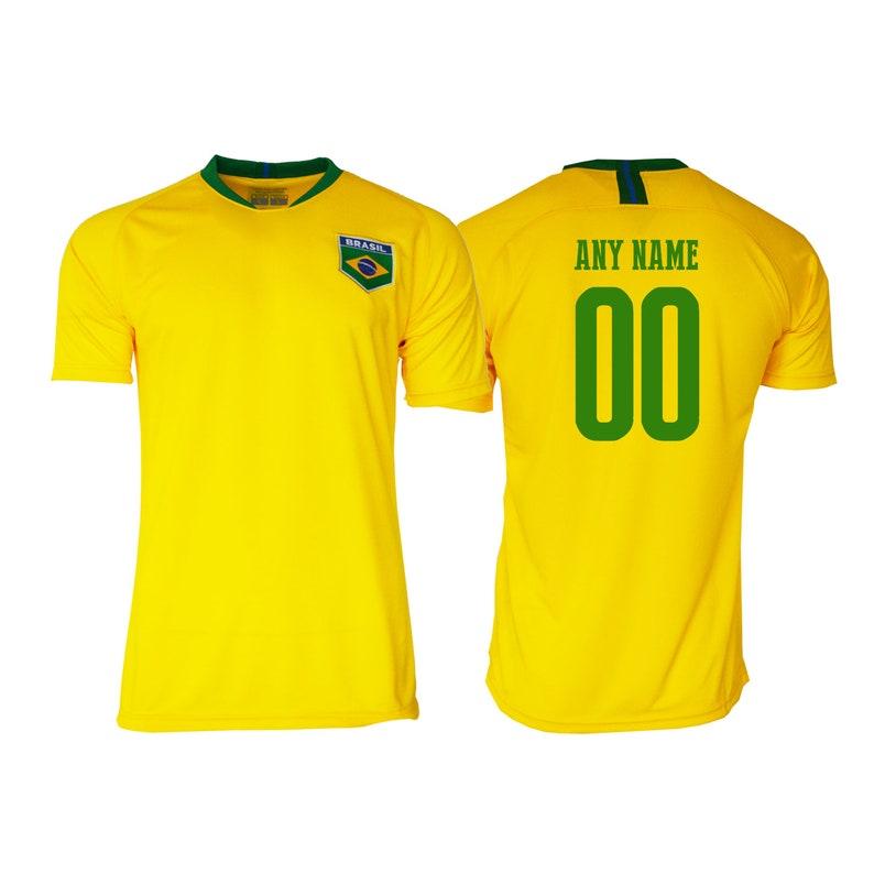 T-shirt Bébé Equipe Nationale Football Brésil avec Prénom Personnalisé