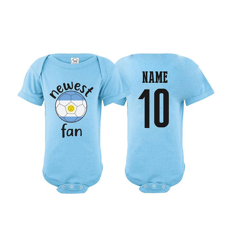 Tee Argentina Bodysuit Add your Name and Number Infant Clothing  Newest Fan Bodysuit Soccer Baby Outfit Mameluco Infant Girls Boys T shirt