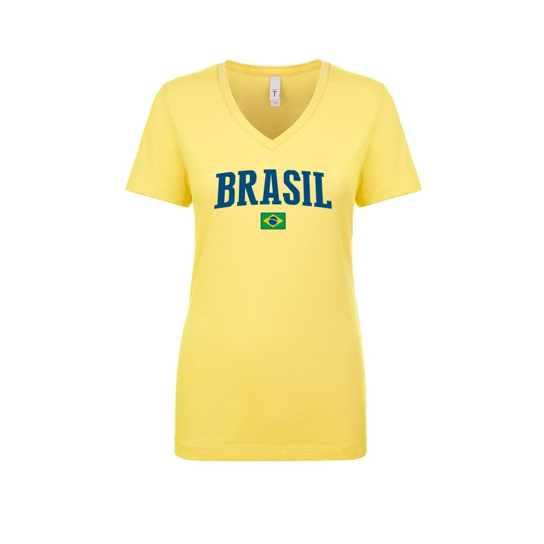 ae63d0666 Brazil V Neck T shirts Women Lady 100% cotton tee Any Sports | Etsy