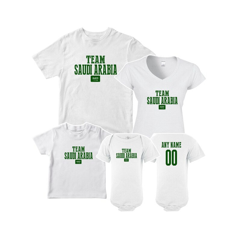 cheap for discount ee63e e20b1 Team Saudi Arabia T shirt matching t-shirt set Soccer football Futbol  national Team Men Woman Kids Family Infant Pride Flag