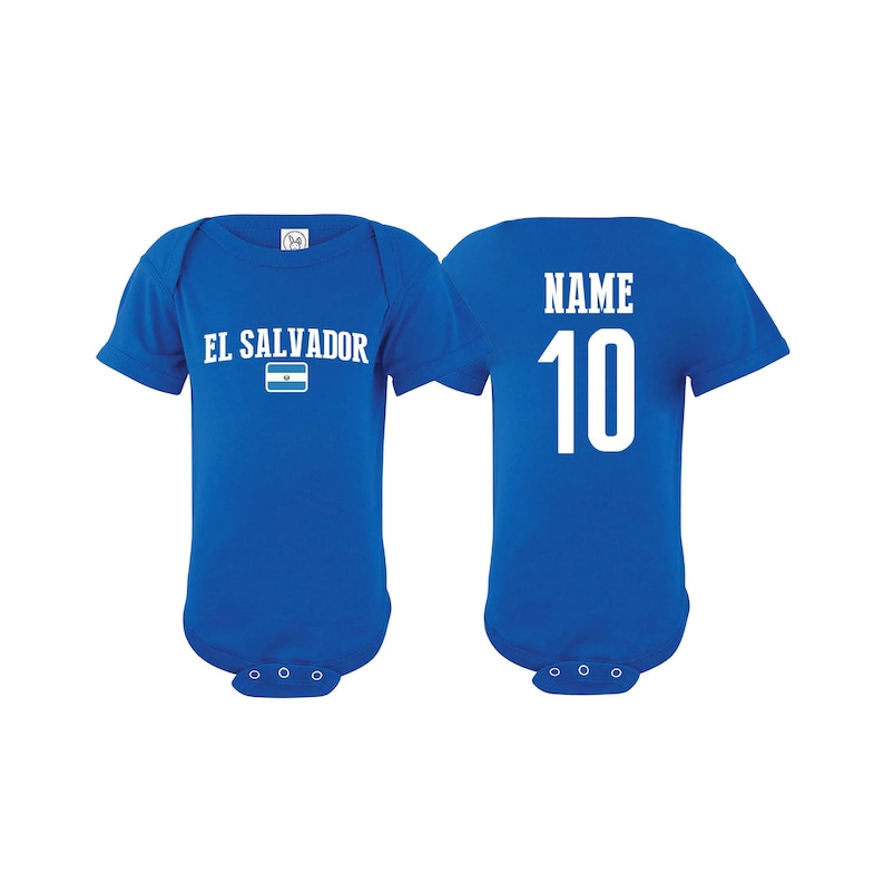 4c562eac45f El Salvador Bodysuit Add your Name and Number Infant Clothing