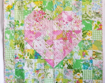 Strawberry Kiwi Vintage Heart Quilt