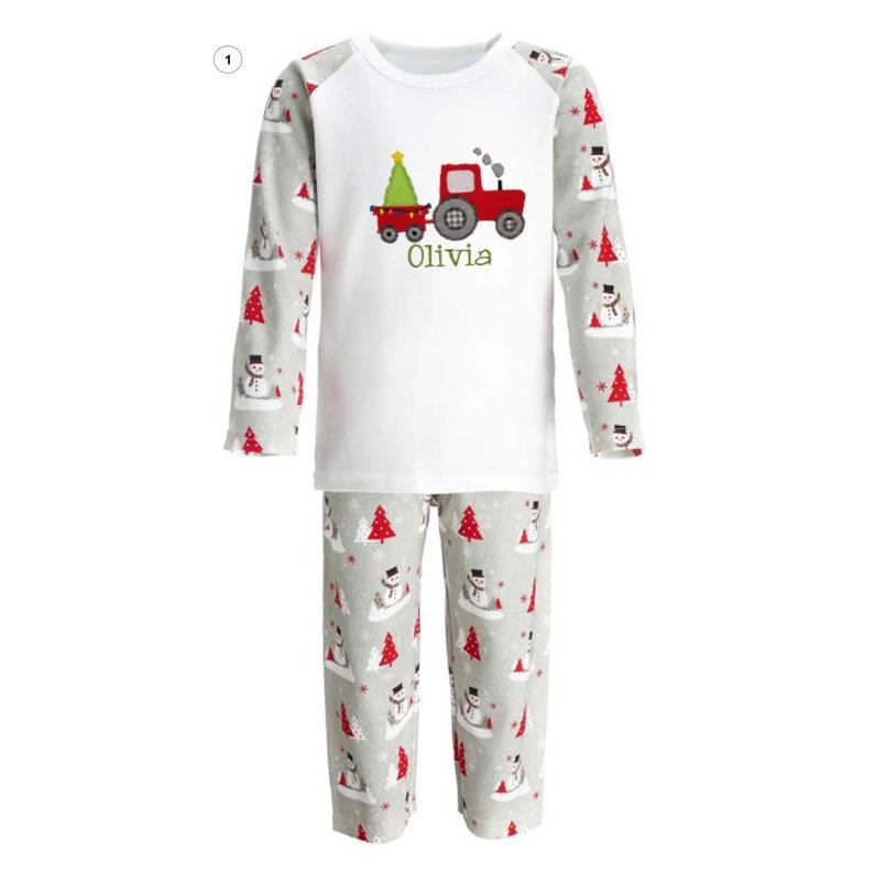 Embroidered Custom  Christmas PyjamasChildren/'s  Kids Baby PJReindeer Pyjamas Holiday PyjamasPersonalised PJ
