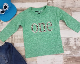 Boy's 'ONE' Long Sleeve Top, size 12 to 18 mth