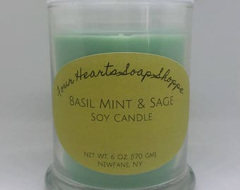 Soy candle, soy wax, candle, home decor, Basil mint & Sage