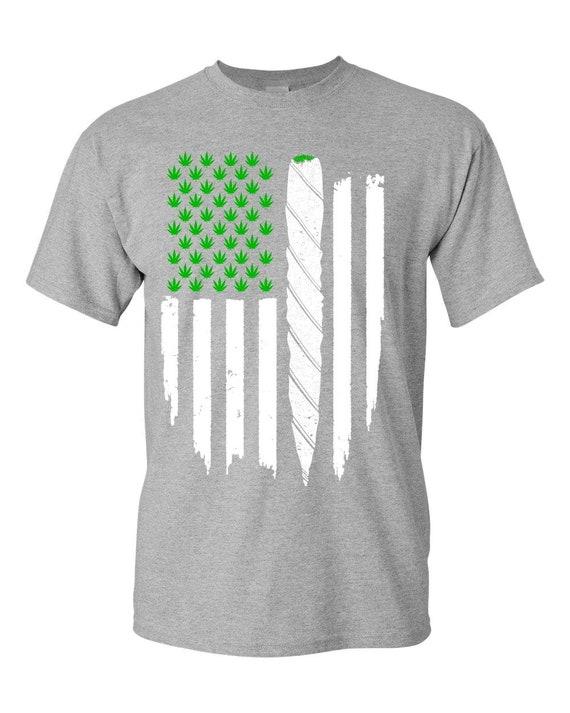 Marijuana Weed T-Shirt USA Flag CommonEssentials Get Legal American Flag Cannabis T Shirt Legalize Marijuana