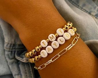 Initial Bracelet , Love Bracelet, Mom Bracelet, Beaded Bracelet, Name Bracelet