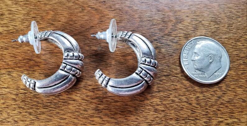 Vintage costume jewelry signed Premier Designs silvertone half hoop stud earrings pretty design