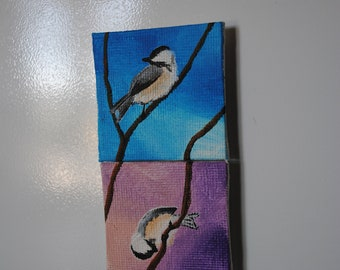 Adorable Chickadee Mini Canvas Magnets, Pink or blue