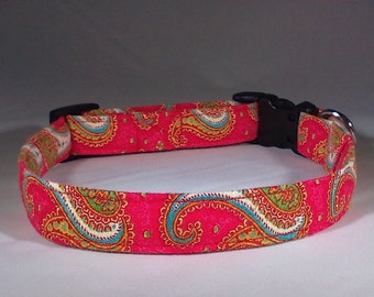 Dog Collar - Red Paisley