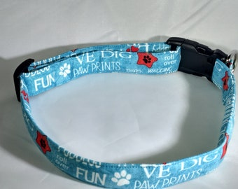 Dog Collar - Aqua Blue with Dog Wisdom Words