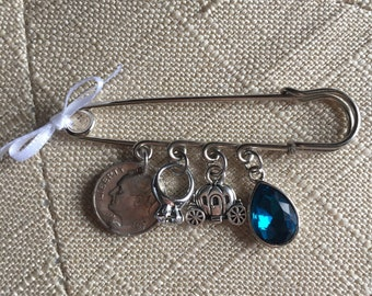 Fairytale Something Old New Borrowed Blue Bouquet Pin Wedding Gift for Brides