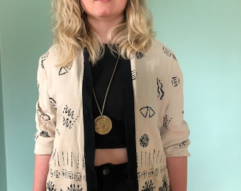 Vintage 90s Creme and Black Abstract Pattern Open Cardigan/Jacket