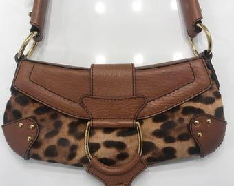 Dolce and Gabbana Leapord Print Pony Hair Shoulder Bag 273f5b5719