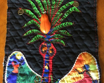 African upcycled Fabric Wall Hanging