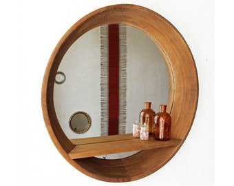 Bathroom Mirror With Shelf Etsy