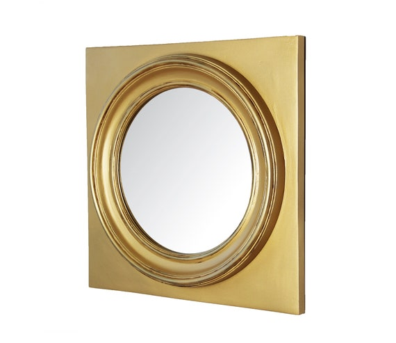 aeb31719c3bf Round Mirror in Square Frame Icon Wall Mount