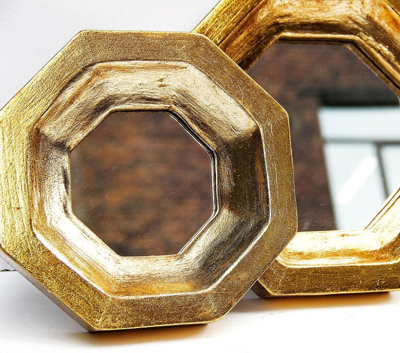 Set Of 2 Octagon Gold Leaf Wall Mirrors Small Decorative Wall Etsy