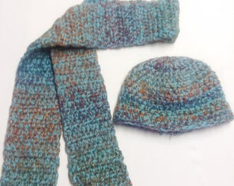 Blue Wool Hat and Scarf Set
