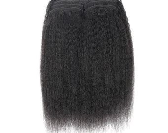 Kinky Straight Clip In Human Hair Extensions 7 Pieces/Set Natural Color 120g/set