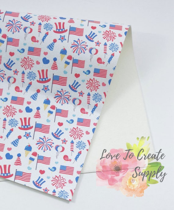 4 of july faux leather   pearlized custom   custom made print fabric