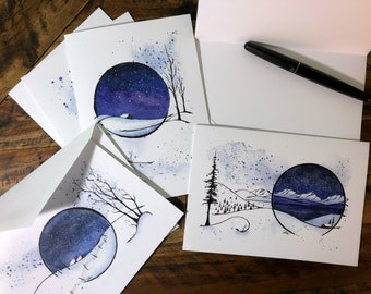 Holiday Greeting Cards (Set of 6): Snow Globe Starscape