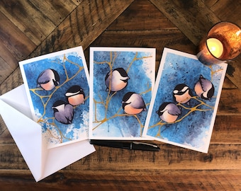 Holiday Greeting Cards (Set of 3): Elegant, Adorable Chickadees