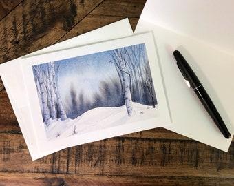 Winter Birches Fine Art Holiday Greeting Card (Limited Edition)