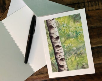 Single Birch Fine Art Greeting Card (Limited Edition)
