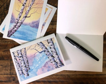 Holiday Greeting Cards (Set of 5): Birches at Sunrise