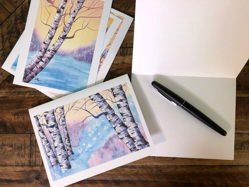 Holiday Greeting Cards Set of 5: Birches at Sunrise image 0