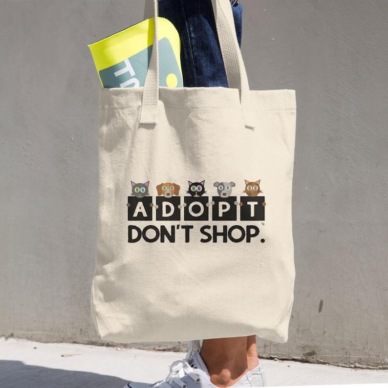 Adopt Cat /& Dog Classic Tote Bag Don/'t Shop