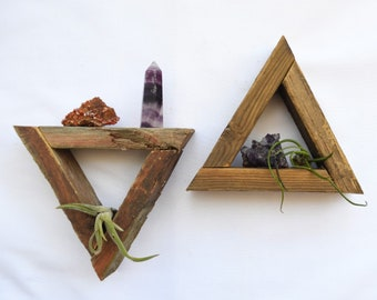 Reclaimed TINY Triangle Shelf · crystal display shelf · wooden shelves · reclaimed wood wall art · boho wall hanging · modern rustic design