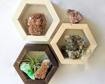 TINY Hexagon Shelf + wooden crystal display shelf · cute little gift · boho wood wall art · small wall hanging · desk and mantle decor
