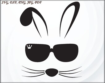 cd54ae4d2f6c Bunny face Svg Bunny svg Boy Svg files for Cricut Silhouette Cameo Rabbit  Svg Shirt Svg Bunny with glasses Svg Dxf Png